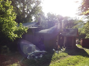 burned house early am sunlight distort